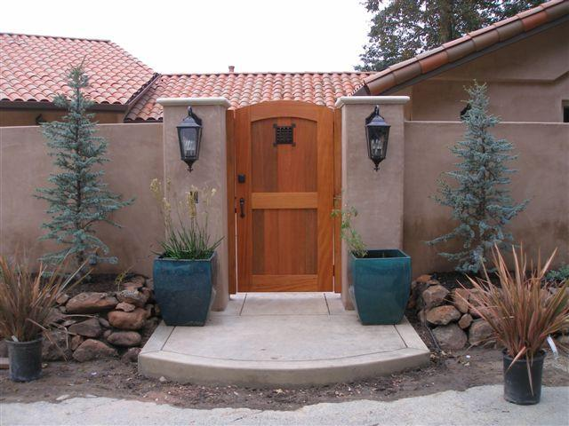 This is gate P-20 in Mahogany With the Bronze thumb latch and hung on our jamb package.